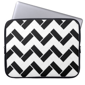 Balck and White chevron twiill Laptop Sleeve