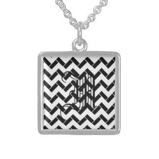 Balck and White chevron twiill Square Pendant Necklace