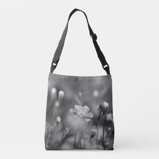 Balck and White Floral Photography Cross Body Bag