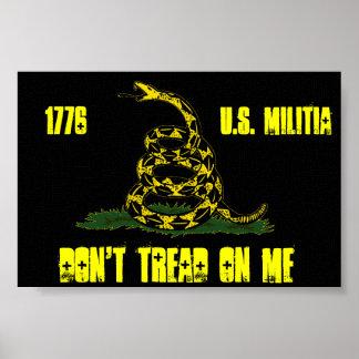 balck Gadsden u s militia flag Print