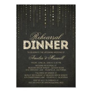 "Balck & Gold Glitter Look Rehearsal Dinner Invite 5"" X 7"" Invitation Card"
