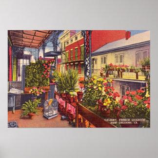Balcón del barrio francés de New Orleans Luisiana Póster