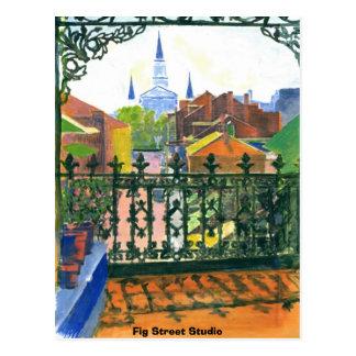 Balcón del barrio francés, estudio de la calle del postales