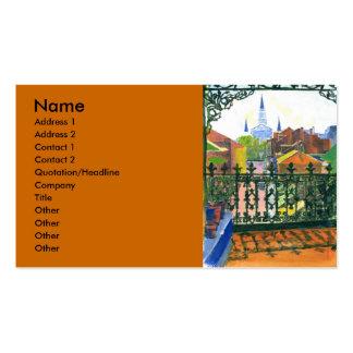 Balcón del barrio francés plantilla de tarjeta de visita