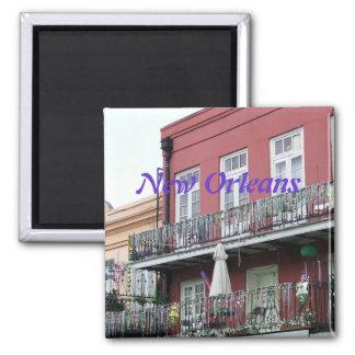 Balcones del hierro labrado del barrio francés imán cuadrado