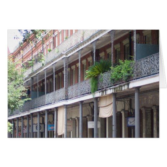 Balcones en el barrio francés tarjeta de felicitación