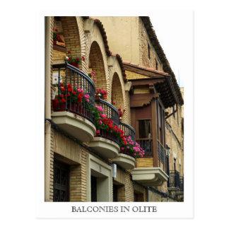 Balcones en Olite Tarjeta Postal