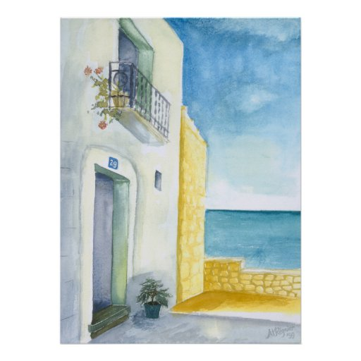 Balcony at Sea Poster