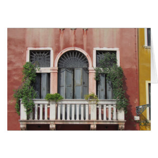 Balcony on an old house, Venice, Italy Greeting Cards