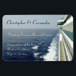 "Balcony Row Group Cruise Door Marker Magnet<br><div class=""desc"">Personalize this stateroom door marker for those going on your group or family cruise.  Showing a view of the sea,  and a portion of the side of a cruise ship,  with rows of balcony cabins,  this custom magnet magnet provides you with multiple text areas for making it your own.</div>"