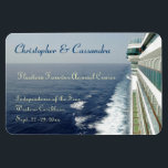 """Balcony Row Group Cruise Door Marker Magnet<br><div class=""""desc"""">Personalize this stateroom door marker for those going on your group or family cruise.  Showing a view of the sea,  and a portion of the side of a cruise ship,  with rows of balcony cabins,  this custom magnet magnet provides you with multiple text areas for making it your own.</div>"""