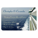 Balcony Row Group Cruise Door Marker Magnet<br><div class='desc'>Personalize this stateroom door marker for those going on your group or family cruise.  Showing a view of the sea,  and a portion of the side of a cruise ship,  with rows of balcony cabins,  this custom magnet magnet provides you with multiple text areas for making it your own.</div>