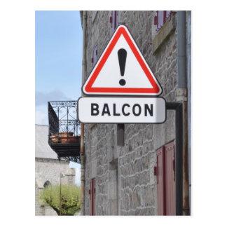 Balcony warning postcard