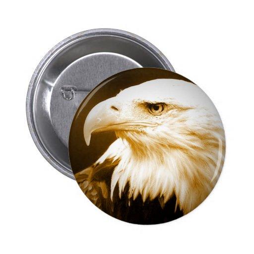 Bald American Eagle Eye Pinback Button