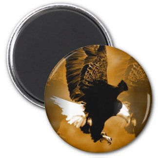 Bald American Eagle in Flight 2 Inch Round Magnet
