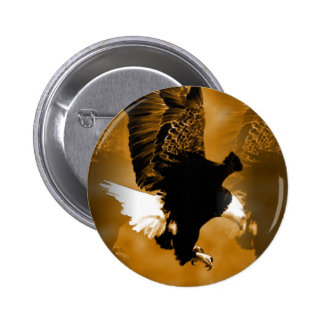 Bald American Eagle in Flight Pinback Button