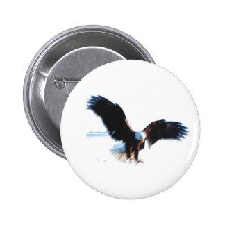 Bald American Eagle Landing Pinback Buttons
