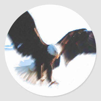 Bald American Eagle Landing Round Stickers