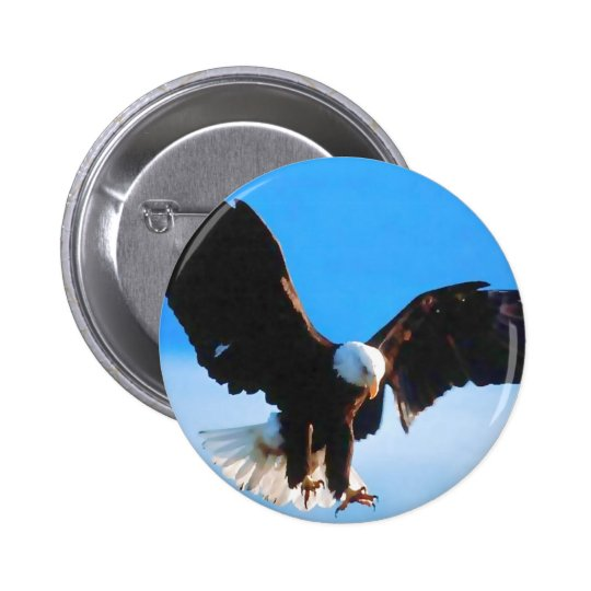 Bald American Eagle Pinback Button
