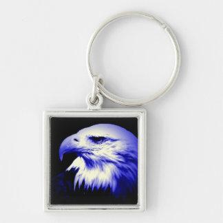Bald American Eagle Silver-Colored Square Keychain