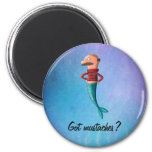 Bald and Moustached Mermaid Fridge Magnets
