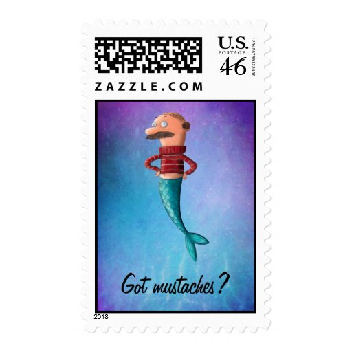 Bald and Moustached Mermaid Postage