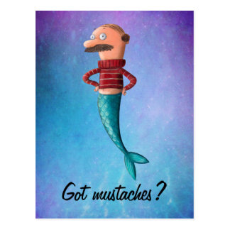 Bald and Moustached Mermaid Postcards