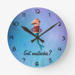 Bald and Moustached Mermaid Round Clock