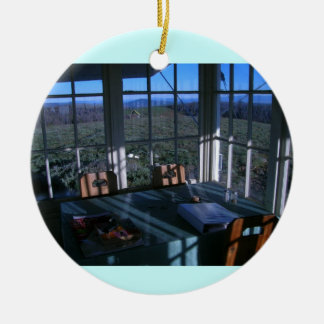 Bald Butte Fire Lookout Breakfast Nook Double-Sided Ceramic Round Christmas Ornament