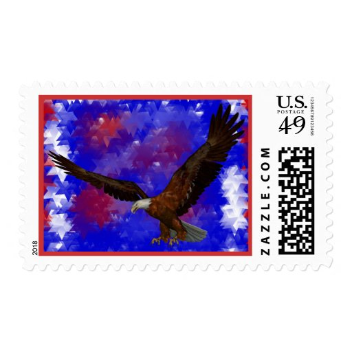 Bald Eagle Abstract Stars Postage Stamps