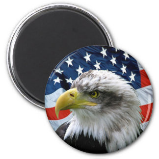 Bald-Eagle-American-Flag 2 Inch Round Magnet