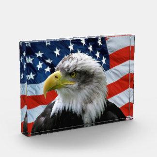Bald Eagle American Flag Acrylic Plaque Award