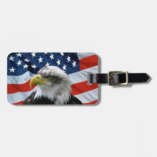 Bald Eagle American Flag Bag Tag