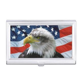 Bald Eagle American Flag Business Card Holder