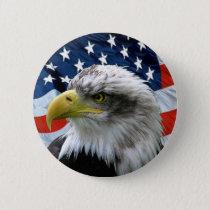 Bald Eagle American Flag Button
