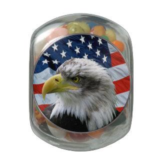 Bald Eagle American Flag Candy Jar Jelly Belly Candy Jar