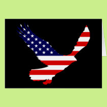 Bald Eagle American Flag Card