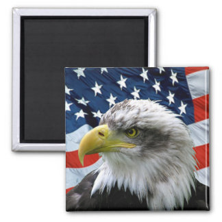 Bald-Eagle-American-Flag 2 Inch Square Magnet