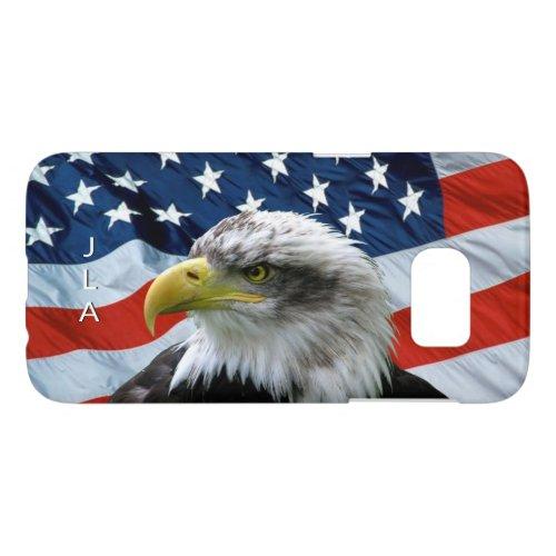 Bald Eagle American Flag Monogrammed Phone Case
