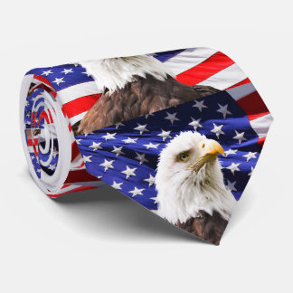 Bald Eagle & American Flag Neck Tie