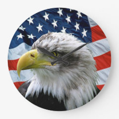 Bald Eagle American Flag Numberless Wall Clock