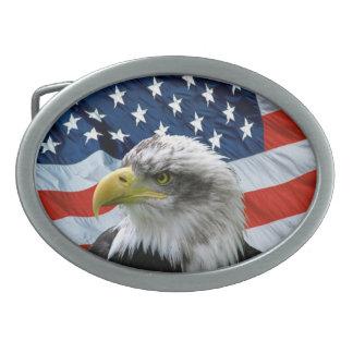 Bald Eagle American Flag Patriotic Belt Buckle