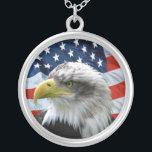 """Bald Eagle American Flag Pendant Necklace<br><div class=""""desc"""">Patriotic pendant has close up photo of Bald Eagle with American Flag background.</div>"""
