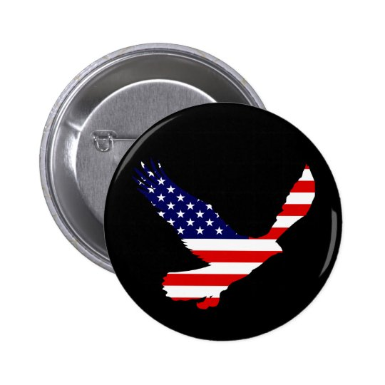 Bald Eagle American Flag Pinback Button