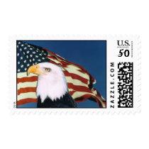 Bald Eagle American Flag Postal Stamp