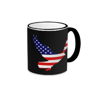 Bald Eagle American Flag Ringer Coffee Mug