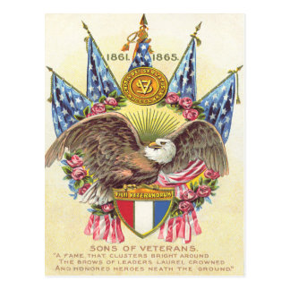 Bald Eagle American Flag Rose Postcard