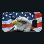 "Bald Eagle American Flag Samsung Galaxy S7 Case<br><div class=""desc"">Patriotic Samsung Galaxy S7 Case with beautiful photo of a Bald Eagle in front of the American Flag.</div>"