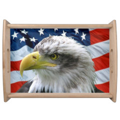 Bald Eagle American Flag Serving Tray