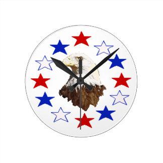 Bald Eagle American Star Round Wallclock